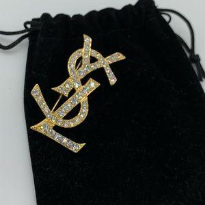 💜Rare💜YSL Swarovski crystals brooch